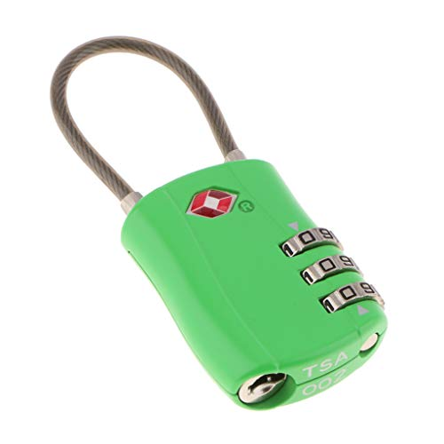B Baosity TSA Approved Cable Luggage Locks, Durable Travel Lock 3 Digit Re-Settable Combination, TSA002 - Green