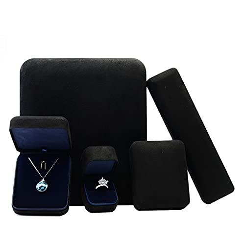 HUYHUJ Contenitore di Regalo dei Gioielli for Anello Collana Braccialetto Bracciale Confezione Organizzatore Scatole di Gioielli in Pelle Scamosciata Nera (Color : A, Size : As Shown)