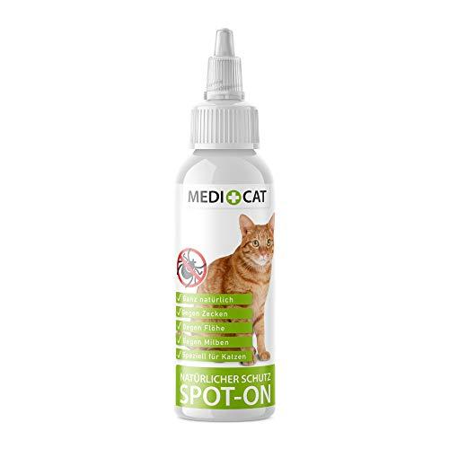 Medicat Natürlicher Spot-On für Katzen, 50ml, Ohne Geraniol, Schutz gegen Zecken, Flöhe, Milben, Parasiten, Zeckenschutz Flohschutz mit pflanzlichen Wirkstoffen