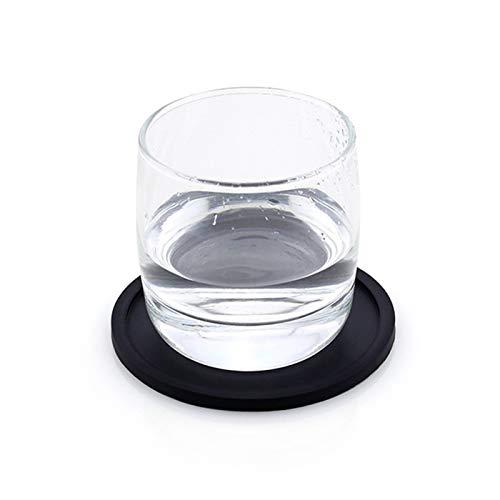 LUOSI rutschfeste Silikon-Trinkuntersetzer Set Halter Tasse Matte Pad Coaster Tisch Tischsets Nonlip Coffee Cup Matte Küchenzubehör (Color : 1PC Black, Size : Round)