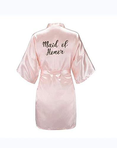 IAMZHL Nueva Novia Bata de Dama de Honor con Letras Negras Blancas Madre Hermana de la Novia Regalo de Boda Albornoz Kimono Batas de satén-Pink Maid of Honor-6-M