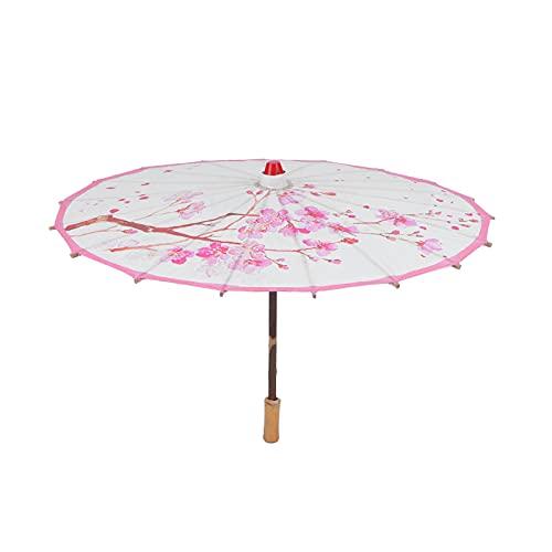 Paraguas engrasado hecho a mano, con mango de madera Flores impresas Paraguas de papel engrasado para danza, paraguas de papel al óleo clásico retráctil hecho a mano para pintar accesorios de baile (1