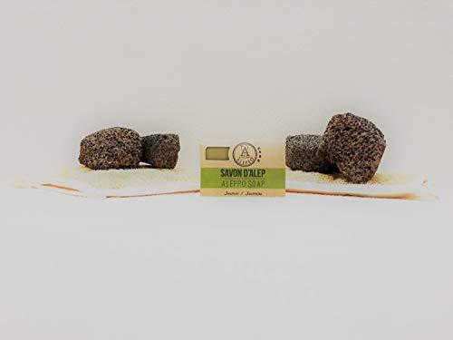 ALEPEO | Jabón de Alepo | Jabón con forma de jazmín | Con laurel y aceite de oliva para el cuerpo y el pelo | 100% vegetariano, hecho a mano, sin aceite de palma, sin plástico