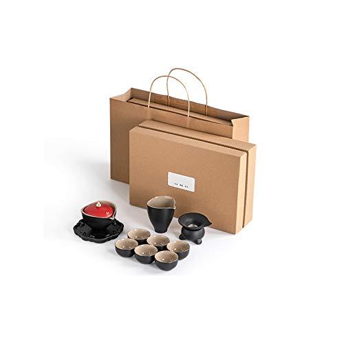Yuansr El Juego de té de Regalo de Kung fu de cerámica portátil, Utilizado para Acampar y Viajar, no frágil y se Puede almacenar Durante Mucho Tiempo, Juego de té Chino.