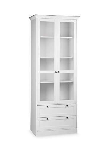 AVANTI TRENDSTORE - Lando - Armadio multiuso per l'ingresso, con 2 ante a telaio ed 1 cassetto a telaio, in legno laminato di colore bianco, dimensioni: LAP 80x200x39 cm (Vetrina)