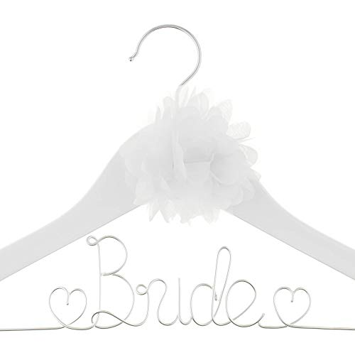Ella Celebration Bride to Be Wedding Dress Hanger White Wooden and Wire with Flower, Hangers for Brides Gowns, Dresses (White with Silver and Flower)