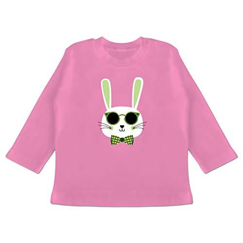 Tiermotive Baby - Osterhase Sonnenbrille Grün - 6/12 Monate - Pink - BZ11 - Baby T-Shirt Langarm