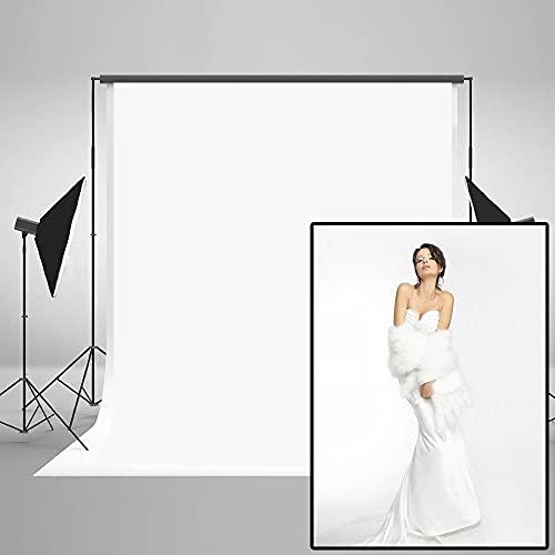 KateHome PHOTOSTUDIOS 1,5x2,2M Toile de Fond Blanc Fond Photographie Couleur Unie Portrait Studio Photo