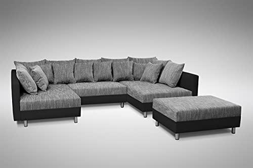 Küchen-Preisbombe Sofa Couch Ecksofa Eckcouch in schwarz/hellgrau Eckcouch mit Hocker- Minsk XXL