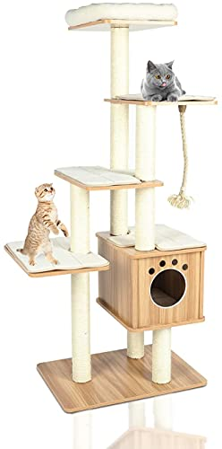 """LAZY BUDDY 68"""" XXL Wooden Cat Tree Tower, Modern Cat Play Condo, 5 Level Furniture Castle for Cat's Activity, W/Scratching Posts, Removable & Washable Mats, Perch, Sisal Line, for Kittens & Large Cats"""