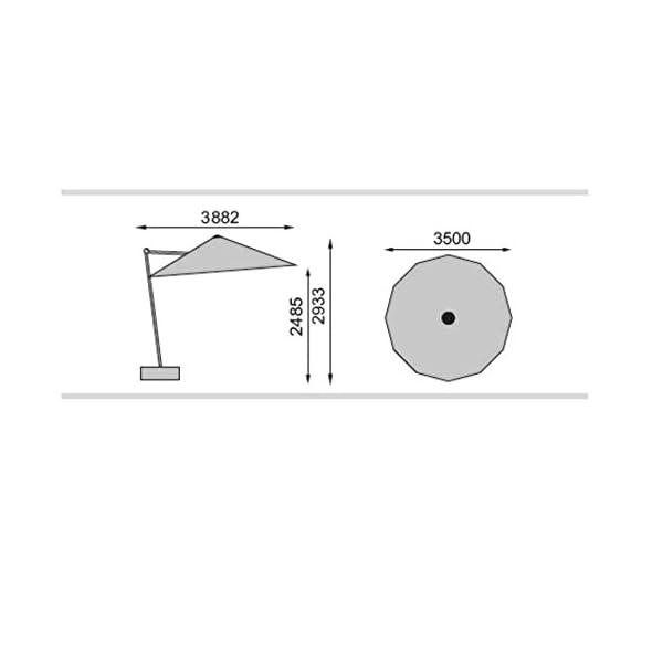 Kettler Sonnenschirm Ampelschirm 350 silber / anthrazit inkl Fuss