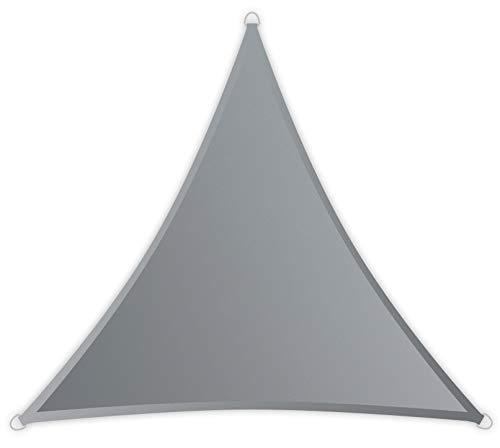 Windhager SunSail Riviera, Sonnensegel, Sonnenschutz, UV-Schutz, witterungsbeständig, wasserabweisend, Dreieck 3, 6 x 3,6 m (gleichschenkelig), 10890, silbergrau, 3,6 m