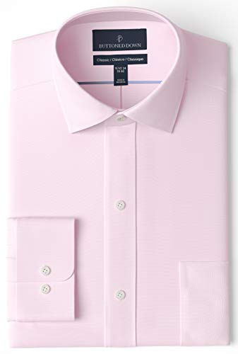 """Amazon Brand - Buttoned Down Men's Classic-Fit Spread Collar Solid Non-Iron Dress Shirt, Light Pink, 17.5"""" Neck 33"""" Sleeve"""