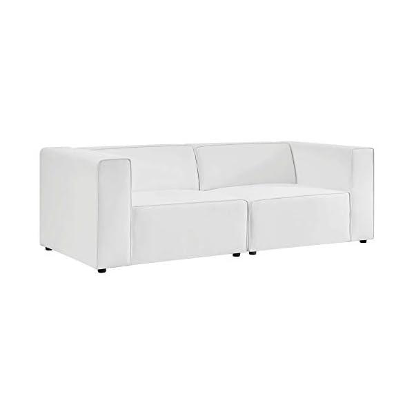 Ergode Mingle Vegan Leather 2-Piece White Sectional Sofa 1