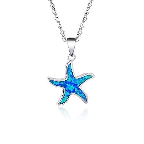Fancime 925 Sterling Silver Starfish Necklace Blue Created Opal Pendant Jewelry for Women Girls 18' (Starfish)