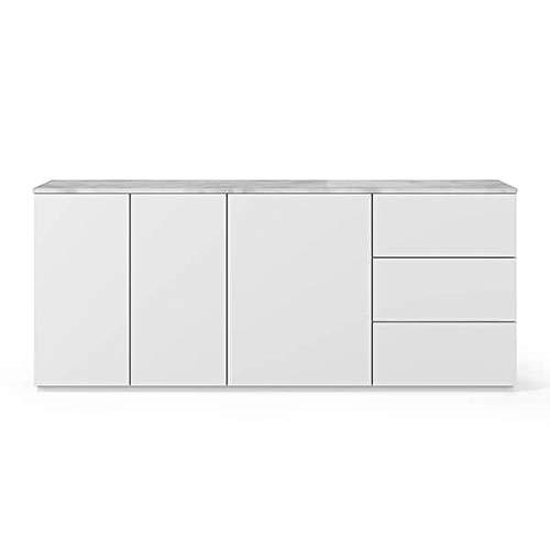 Buffets Design et élégants, Collection Join, signée TEMAHOME. - Join 200H1, Base Classique, Blanc Mat, Plateau en marbre Blanc