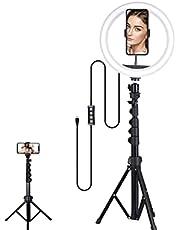 Selfie lampa pierścieniowa ze statywem, selfie, nagrywanie wideo – 10,3 cala, ze statywem o przekątnej 63 cali, przyciemniana lampka LED do selfie, wideokonferencji, YouTube, TikTok, fotografii