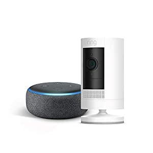 Ring Stick Up Cam Battery HD security camera with two-way talk, Works with Alexa – Black