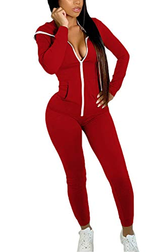 ioiom 2 Piece Long Sleeve Outfits for Women Winter Sweatsuit Set Solid Color Sport Suit Activewear Red L