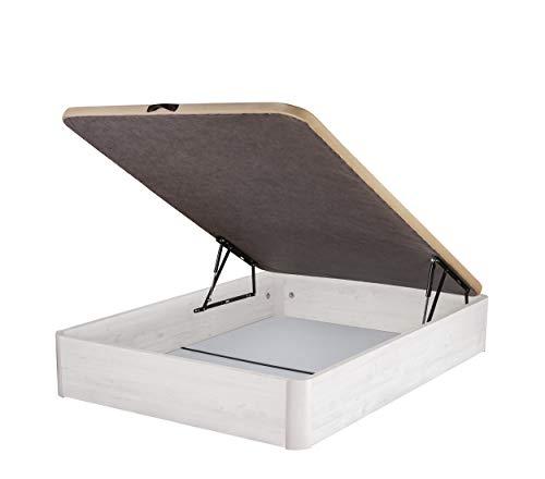 DHOME Canape Abatible Tapizado 3D Grosor 30mm 4 válvulas Maxima Calidad Esquinas canapé Madera (90x190, Ártico)