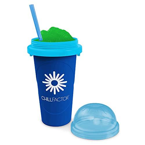 Slushy Maker Chillfactor Magic Freez | Slush Ice Becher mit Strohhalmlöffel | Eisbecher Glas Alternative für Eis selber machen | Slush Ice Maker Blaubeere
