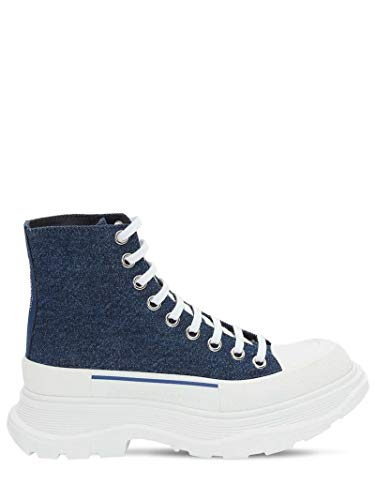 Alexander McQueen White Denim Tread Sneakers New/Authentic (38.5, Numeric_8_Point_5)
