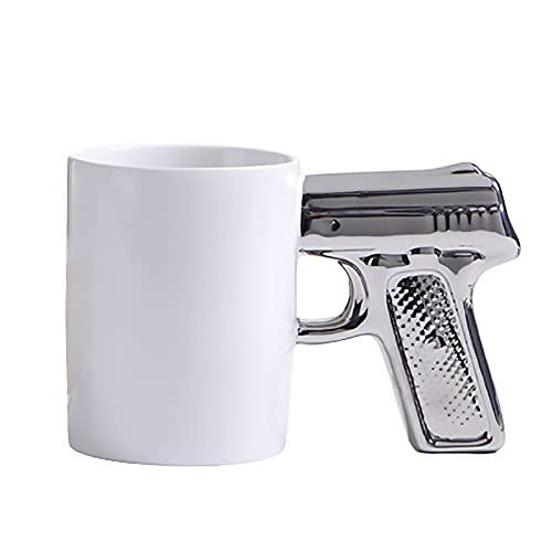 SLDAGe 301-400 Ml De Capacidad Simulación Creativa Pistola Taza Mango Taza De Café para Amigos/Familia/Amantes Regalo, Tazas De Agua Taza De Té Taza De Desayuno,1