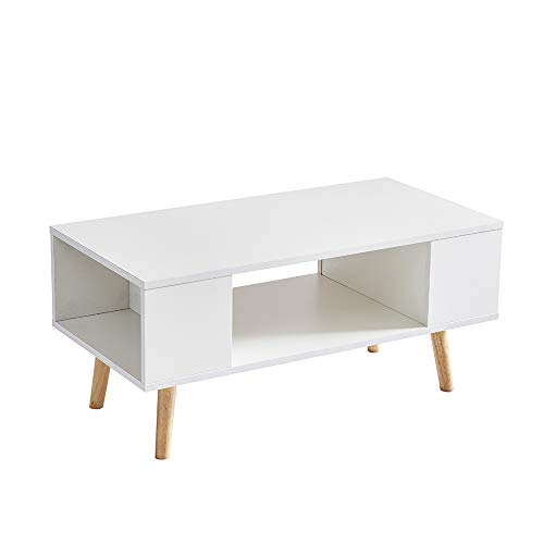 DEWINNER - Table Basse Effie scandinave Bois Blanc