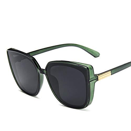 NJJX Gafas De Sol Cuadradas Vintage Con Montura Grande Para Hombres Y Mujeres, Steampunk, Gafas De Sol De Lujo Para Hombres, Gafas De Fiesta Rave, Verde, Gris