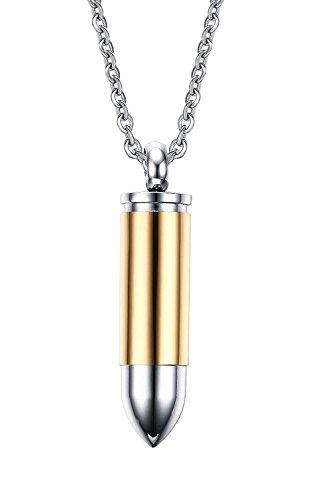 Collar con colgante de urna de bala de acero inoxidable pulido para cenizas dorado