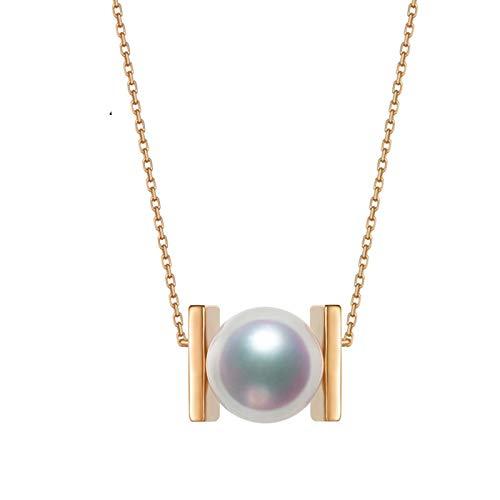 KnSam 18K Oro Rosa Collar, Cadena de Clavícula Rectángulo Redondo con Perla, Perla Blanco, Color Oro Rosa