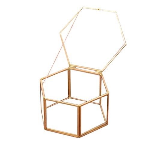 KESYOO Caixa de Joias Bugiganga Hexágono Geométrico Terrário Caixa de Janela Caixa de Exibição Vintage Pulseira Caixa Do Organizador Caixa de Armazenamento de Joias para Homens Mulheres