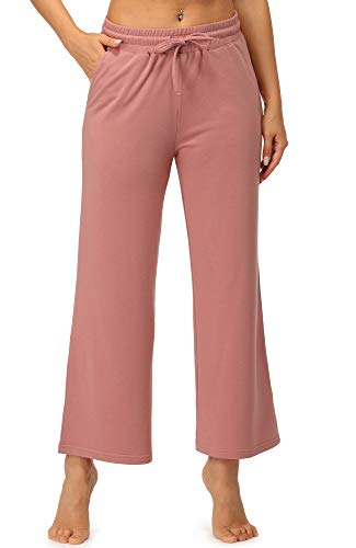 icyzone Women's Athletic Sweatpants - Lounge Yoga Wide Leg Pants Active Joggers with Pockets (Dusty Pink, Medium)
