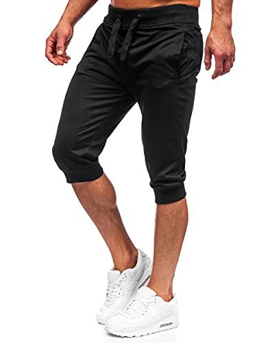 BOLF Herren Kurze Sporthose Shorts Bermudas Trainingshose Fußballhose Fitnesshose Short Hose Sweathose Stretch Freizeithose Street Style K10002 Schwarz M [7G7]
