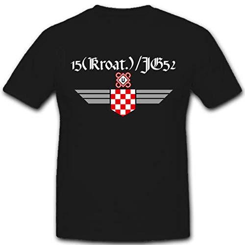 Jagdgeschwader 52 Luftwaffe Jg52 Kroatien Kroatisch Militär WK WH Abzeichen Wappen Einheit - T Shirt Herren #2476, Farbe:Schwarz, Größe:4XL