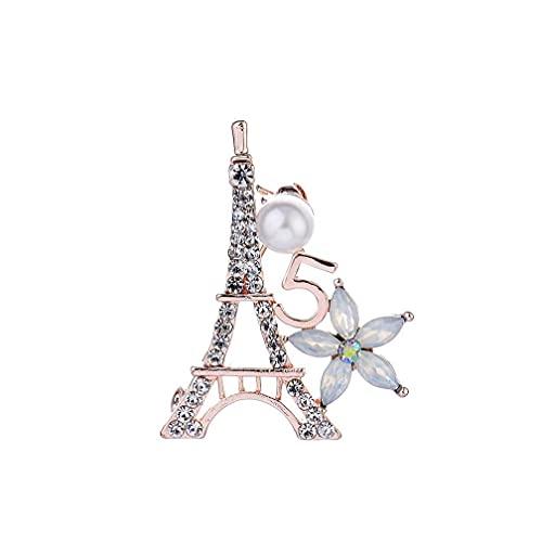 Naisicatar Pin De La Joyería De Moda De La Torre Eiffel De La Broche De La Aleación De Cinco Pétalos Y Diseño Elegante Ramillete Ropa Accesorios Ornamento Rosa De Oro Tipo X1824