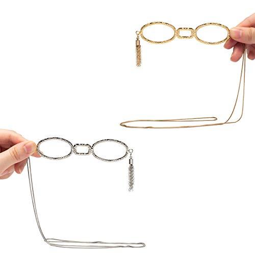 WYCD Lesebrille - Mini-Lesegeräte Halskette Brille - Anhänger Halskette Lupe - Damen