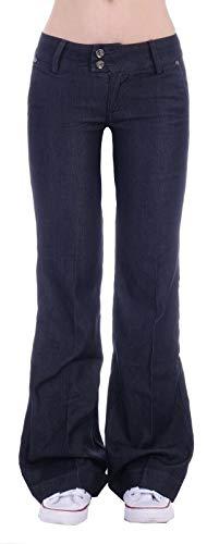 Damen Bootcut Hosen Hüftjeans Jeans Schlagjeans blau Schlag-Hose-n Damenjeans Damen-Hose-n Jeans-Hose-n Hüft-Hose-n Niedrige-r Leib-Höhe Bund Weite-m-s Bein Mega Großer dunkel-blau-e Gr Größe M 38