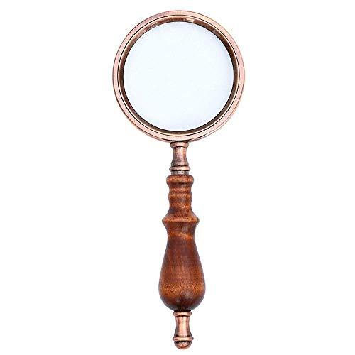 GRPBZ HONGHONG Manija de Madera metálica Vintage Reading HD Lupa de Lupa de Lupa de Mano de Lupa de Vidrio óptico de Mano, Bronce 10x | Código de Productos básicos: LJW-1036