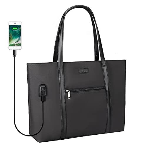 Laptop-Tragetasche für Damen, Lehrer, Arbeit, Büro, USB-Tasche, passend für 39,6 cm (15,6 Zoll) Laptop, leicht, wasserabweisend, Nylon