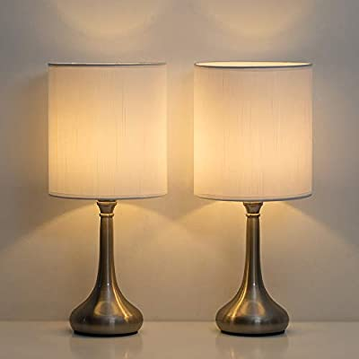 HAITRAL Small Table Lamps - Modern Nightstand Lamps Set of 2 with Metal Base and White Fabric Shade, Desk Lamps for Bedroom, College Dorm, Office - Non-Touch Switch (HT-BTL05-2W)