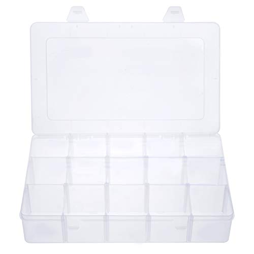 Gospire 15 Large Grids Clear Plastic Jewelry Box Organizer Storage Container with Removable Dividers