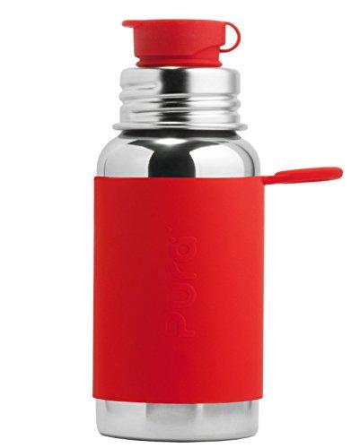 Pura, Bottiglia d'acqua in acciaio INOX da 550 ml/18 once, con tappo Flip in Silicone per Sport, Senza plastica, di certificazione atossico, senza BPA, ROSSO