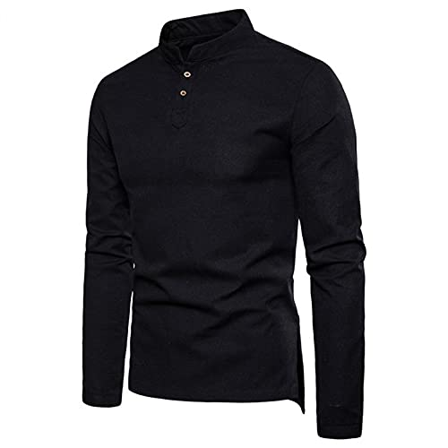 Henley Tops for Men Long Sleeve Stand Collar Button Down Shirts Casual Loose Pullover Sweatershirts Soft Cozy Linen Tee Black