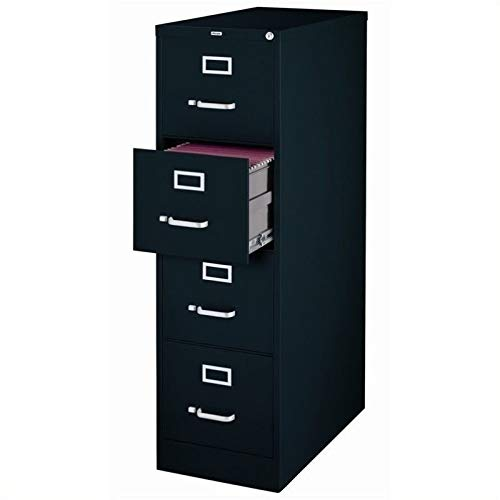 Pemberly Row 4 Drawer 25' Deep Letter File Cabinet in Black, Fully Assembled