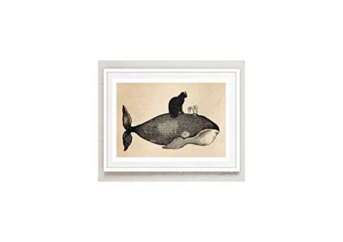 Poster Bild Großer Wal und schwarze Katze und Wal Collage Katze Matrose maritim Vintage A4 ohne Rahmen