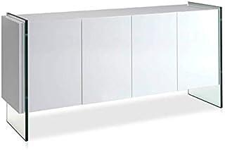 ANGEL CERDÁ | Aparador Madera Lacado Blanco Brillo con Cuatro Puertas Sistema Cierre retardado Patas Laterales Cristal T...
