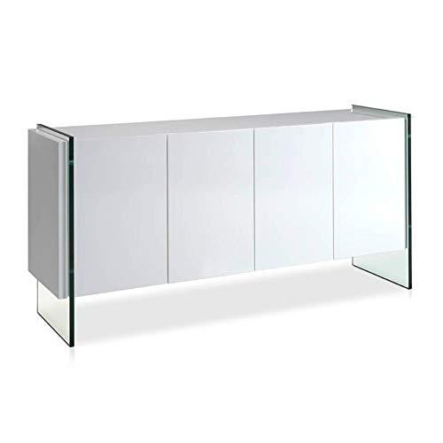 ANGEL CERDÁ | Aparador Madera Lacado Blanco Brillo, con Cuatro Puertas Sistema Cierre retardado, Patas Laterales Cristal Templado, Estilo Moderno