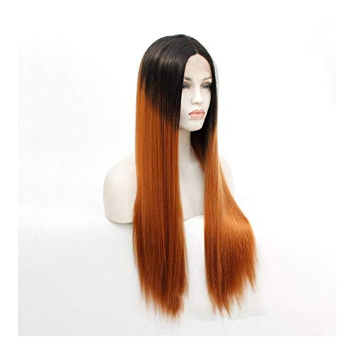 JIANGJINLAN Mme mode européenne et américaine perruque longue ligne droite sculpté dentelle perruque perruque (Color : 22 inches)