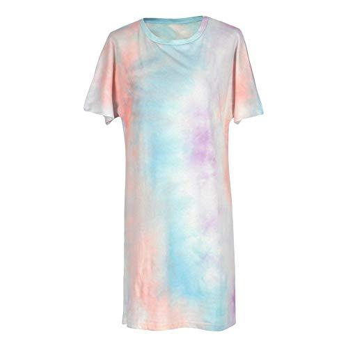 HUANSUN Vestido de Verano de Pijama con Efecto Tie-Dye para Mujer, Ropa de Dormir de Manga Corta, Vestido de Playa, camisón Informal, Vestido Camisero, Multicolor, XL